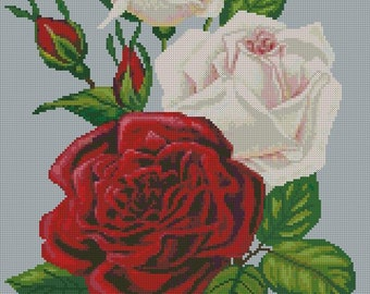 White and red roses. Scheme for cross stitch