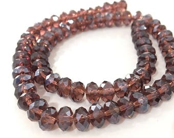 X 72 inches glass beads faceted 7 x 4 mm