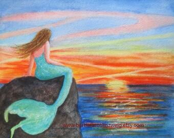 Mermaid Print, Mermaid Wall Art, Sunset Painting, Beach Decor, Coastal Decor, Mermaid Decor, Mermaid Watercolor, Sunset Watercolor, Mermaid
