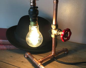 Industrial copper table lamp