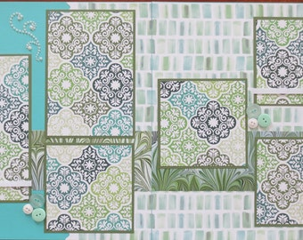 Premade Scrapbook Layout - 12X12 - Friends - Family - Teal And Green - Any Occasion