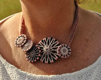 Necklace with twist buttons, Dorset buttons