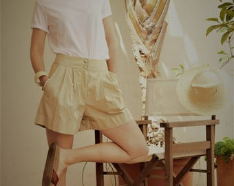 Shorts, cotton mix // shorts / summer shorts / cotton shorts / beige shorts / sand shorts / pocket shorts #kadrika