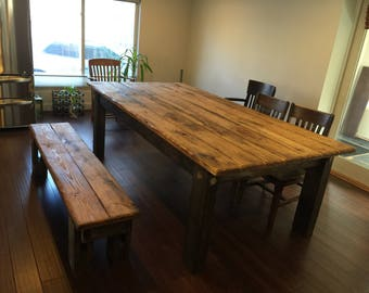 RUSTIC Wood TABLE Large Set Cabin Farmhouse 8 Foot Kitchen Dining Farm House Table W