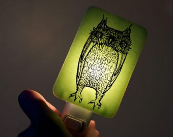 Owl Nightlight of Fused Glass in Mint Green - Large Funny Owl by Happy Owl - night light Winter Decor Owl