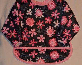 Long Sleeve Bib - Black and Pink Flowers