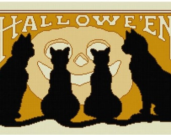 Black Cats Halloween cross stitch pattern PDF