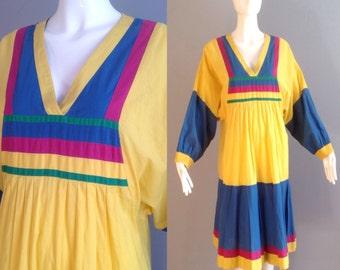 Vintage 70s Boho Hippie Colour Block Cotton Dress ~ Sheer Dolman Sleeve Festival Maxi ~ Pleated Festival Caftan Son of Siam ~ Ethnic Maxi