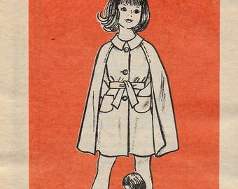 "A Front Button, Tied Belt, Collared Cape Coat Pattern for Children: Uncut - Size 8, Breast 27"" • Marian Martin 9195"