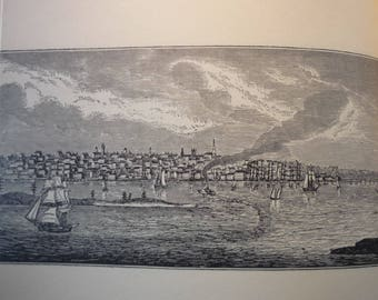 New Bedford Massachusetts Town Engravings - New England Antiquarian Society - framable gift town history 1800 historic scene whaling center