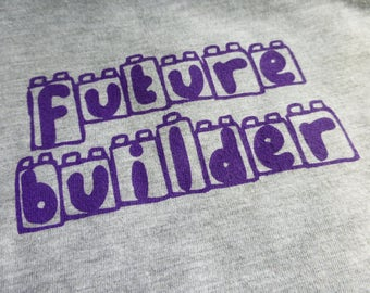 """BABY TODDLER LEGO T-Shirt Short Sleeve """"Future Builder"""" Infant Screen Printed American Apparel Grey Cotton Lap Tee"""