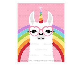 64J Rainbow Art - Llamacorn with Glasses Wall Art - Unicorn Wall Art - Rainbow Print - Nursery Decor - Art for Baby - Rainbow Stripes