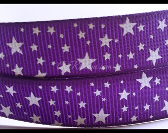 """Purple with White Mini Stars Printed Grosgrain Ribbon 5/8"""" Scrapbooking HairBows Parties DIY Projects az190"""