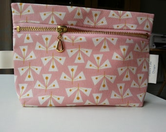 Rose Pink Zipped Pouch, Pink Pencil Case, Pink Travel Pouch, Phone Pouch, Clutch