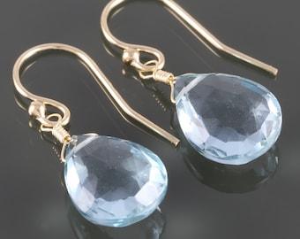 Aqua Blue Quartz Earrings. Gold Filled Ear Wires. Lightweight Earrings. f16e123