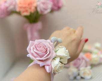 Bridesmaid wrist corsages, floral bracelet