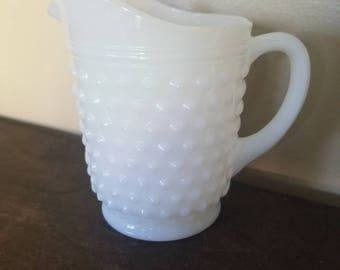 Vintage Hobnail Milk Glass Pitcher, Medium Size - Great for Wedding Decor or Home Decor