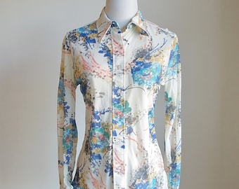 Vintage 70s Button Down Blouse, Long Sleeve Shirt, Pointed Collar Shirt, Watercolor Print, Multicolor Secretary Blouse, Judy Bond, Medium
