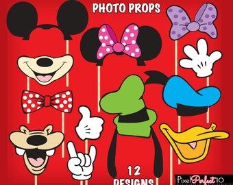 MICKEY MOUSE Photo Booth Props, Mickey Mouse birthday, Mickey Mouse party, Mickey Mouse DIGITAL photo props, Mickey Mouse Clubhouse, Minnie