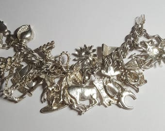 Sterling Loaded Out  Charm Bracelet-Lots of Charms!