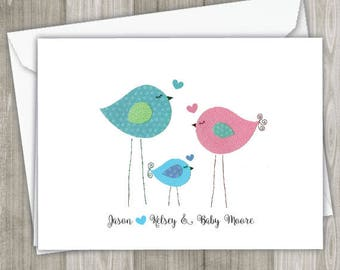 Baby Bird Thank you card - set of 8 cards with envelopes-  new baby, baby shower thank you cards