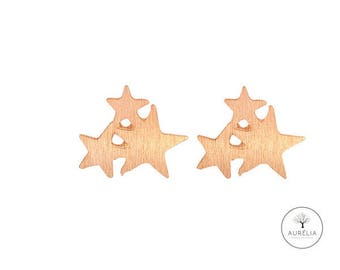 "Rose gold-plated stud earrings ""Tri Stella"""
