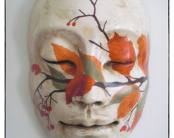 The Autumn. Giant paper maché mask. Handmade painted. Ornament and home interior