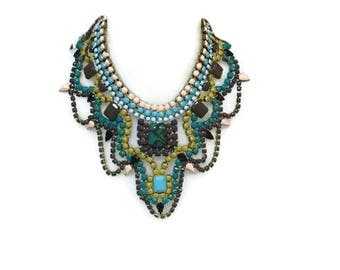 CHAMPAGNE MOSS hand painted rhinestone super statement necklace