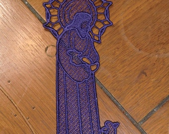 Embroidered Bookmark  -  Jesus with Lamb -  Dark Purple