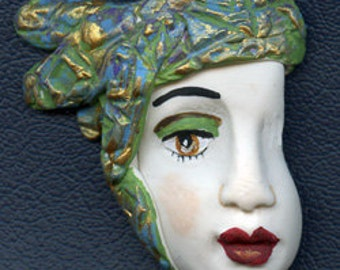 Sale !   Polymer Clay Profile One of a kind Detailed and textured Face Shard  AHP 7
