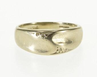 14k Diamond Inset Wavy Curvy Design Band Ring Gold