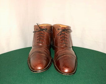 Sz 11.5 Vintage Brown Genuine Leather 1990s Men Johnston & Murphy Flat Lace Up Ankle Boots.
