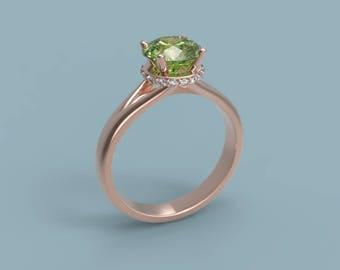 14k Peridot Engagement Ring Rose Gold Peridot Ring Peridot Diamonds Rose Gold Engagement Ring Peridot Halo Engagement Ring