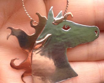 Sterling Silver & Copper Horse Head Pendant and Pin