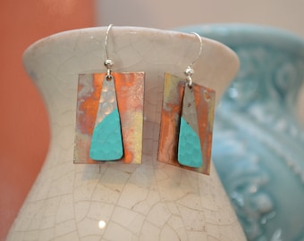 Hammered Copper Earrings, Copper Earrings, Fire Earrings, Patina Copper Earrings, Rectangle Earrings, Rainbow Earrings