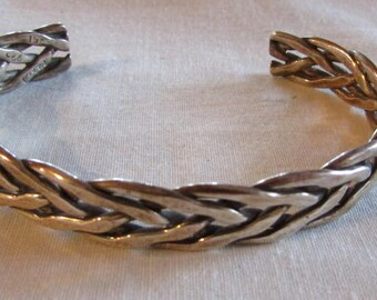 Sterling Silver Braided Wire Cuff Bracelet