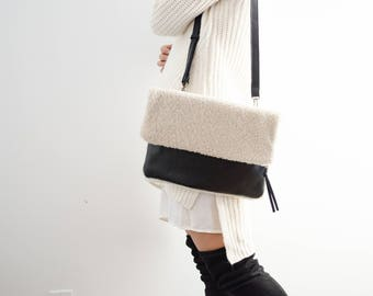 Shearling Clutch - Cream