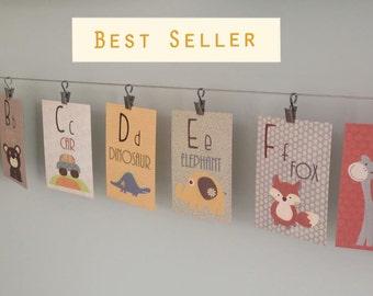 Alphabet Cards, A to Z, Animal Alphabet Card Set, Nursery Wall Cards, Animal Alphabet Flash Cards, Alphabet Fine Art Prints, ABC Cards decor
