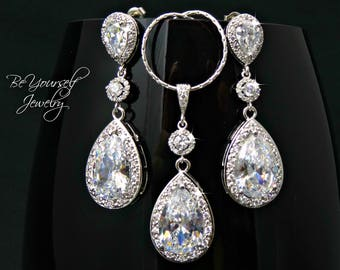 White Crystal Bridal Earrings Cubic Zirconia Teardrop Bride Necklace Wedding Jewelry Statement Wedding Earrings CZ Sterling Bridesmaid Gift