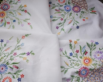 amazing vintage  heavily hand embroidered tablecloth40x42 inches
