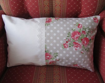 (30 x 50 cm) white and floral Cushion cover