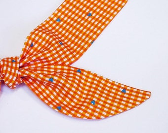 "Orange Dog Collar TIE ONE ON Cooling Collar, Pet Neck Cooler Fabric Bandana Stay Cool Tie Wrap Band Sz Small Medium Large 10 to 22"" iycbrand"