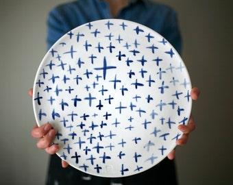 Large ceramic plate - Cheese ceramic plate - Serving ceramic plate / Plateau de fromage - plateau de service