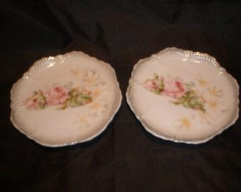 Pink Rose Bread Butter Plates Vintage 1930's Leuchtenburg Germany Porcelain Serving Dining Collectible