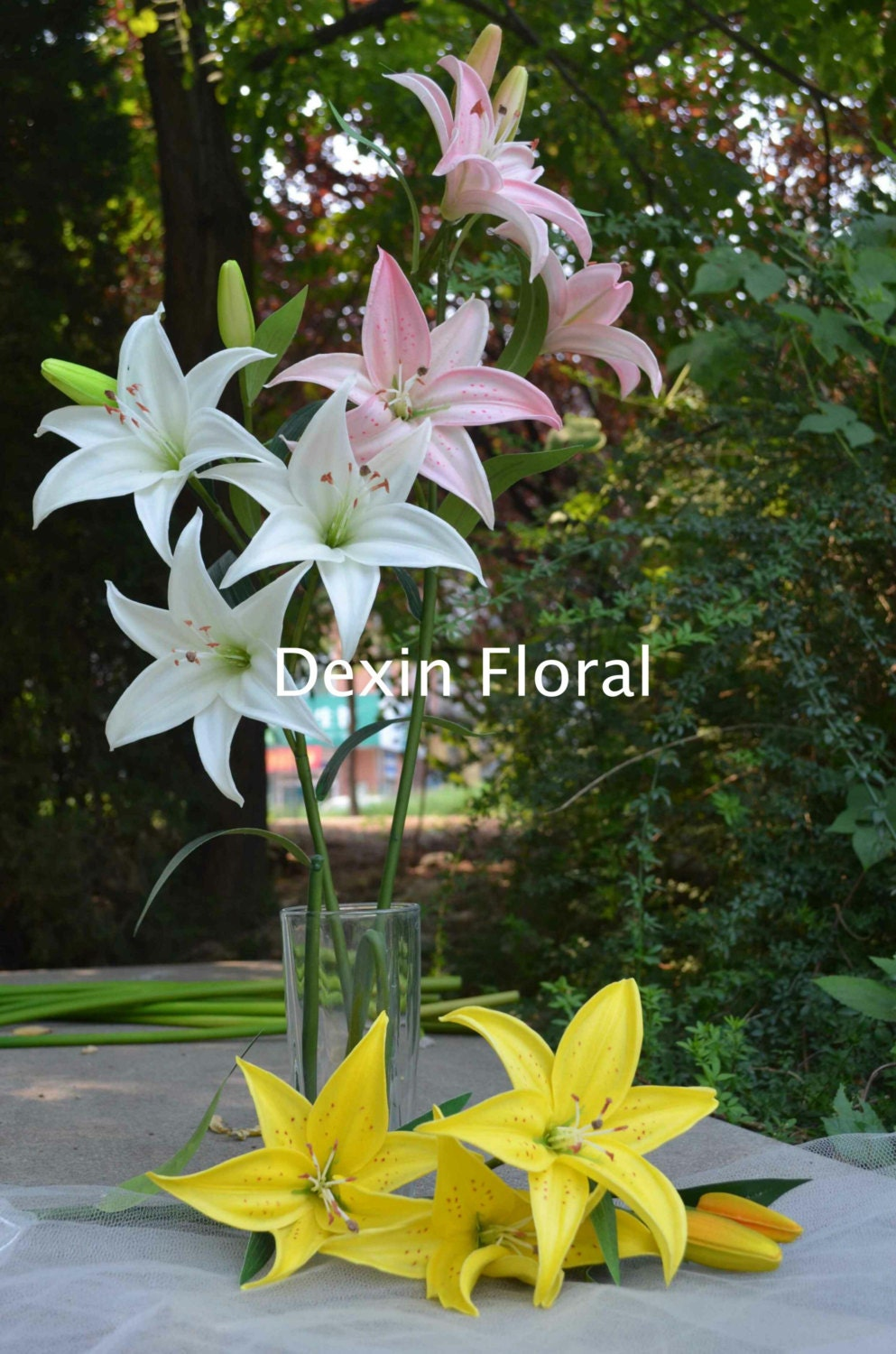 Tiger lilies diy silk bridal bouquets holiday decor real touch zoom izmirmasajfo