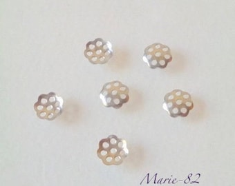 Stainless steel 10 caps - filigree 6 mm