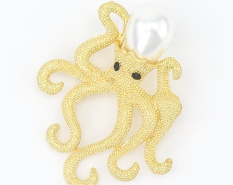 Octopus Brooch, Octpus Pin, Beach Wedding Brooches, Bridal Brooch, Brooch Bouquet Charm, Octpus Brooch.