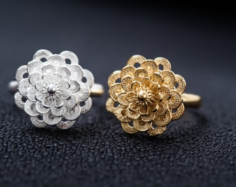 Fine Silver Filigree Ring-Plum Flower Ring-Handcrafted Ring-Silver Ring
