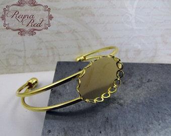 Goldtone Brass Cuff Bracelet Blank w/Cabochon Setting, brass bangle, cuff blank, jewelry making, beading supplies - reynaredsupplies