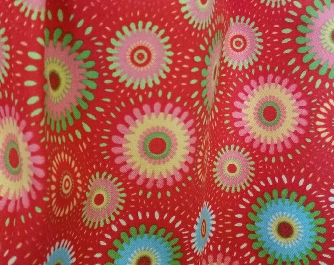 Cotton Quilting Fabric By the Yard Geometric Flowers on Red Background